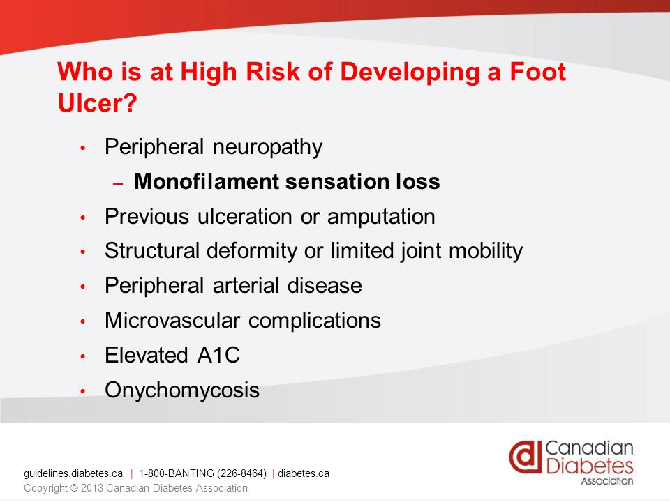 Who is at High Risk of Developing a Foot Ulcer
