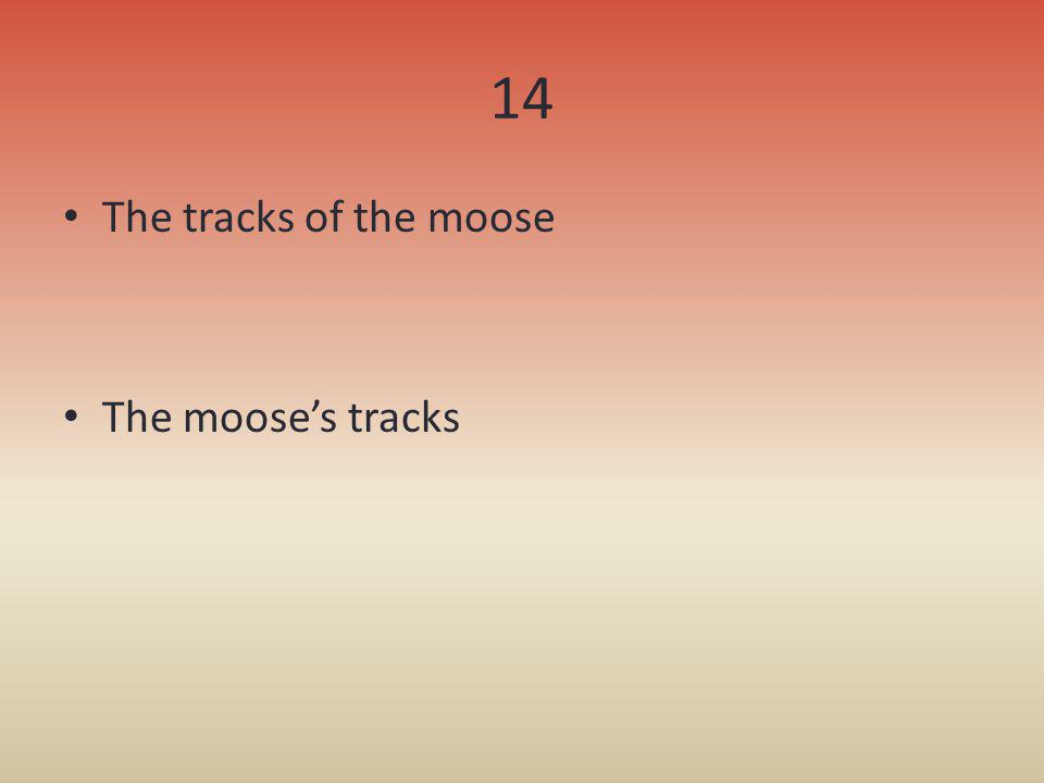 14 The tracks of the moose The moose's tracks