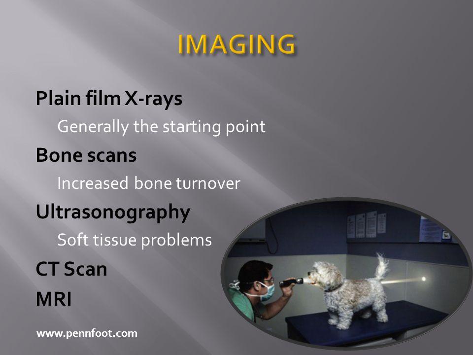 IMAGING Plain film X-rays Bone scans Ultrasonography CT Scan MRI