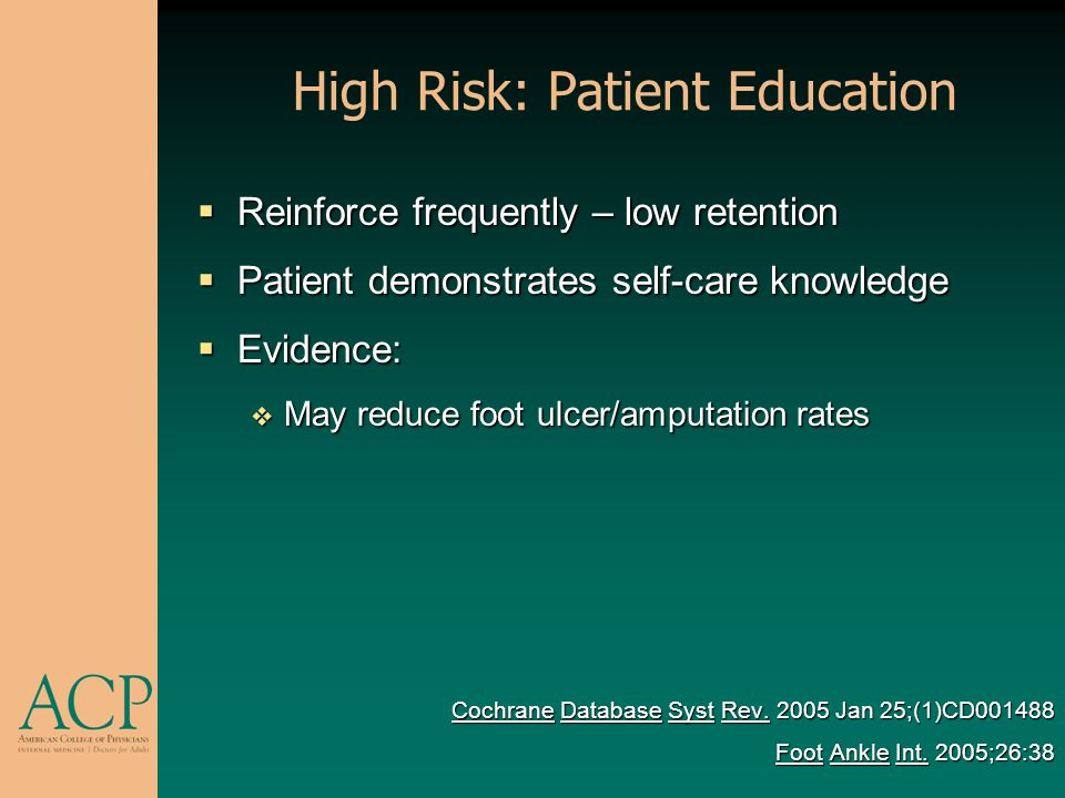 High Risk: Patient Education
