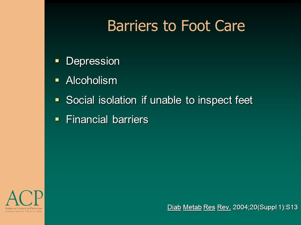 Barriers to Foot Care Depression Alcoholism