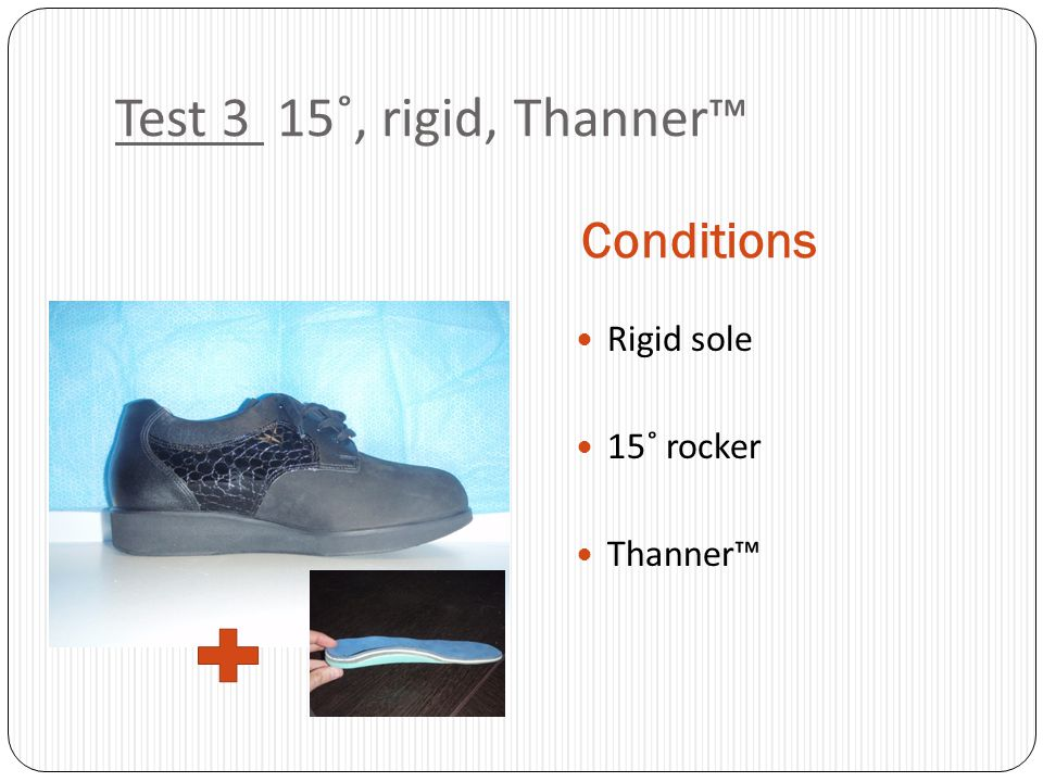 Test 3 15˚, rigid, Thanner™ Conditions Rigid sole 15˚ rocker Thanner™