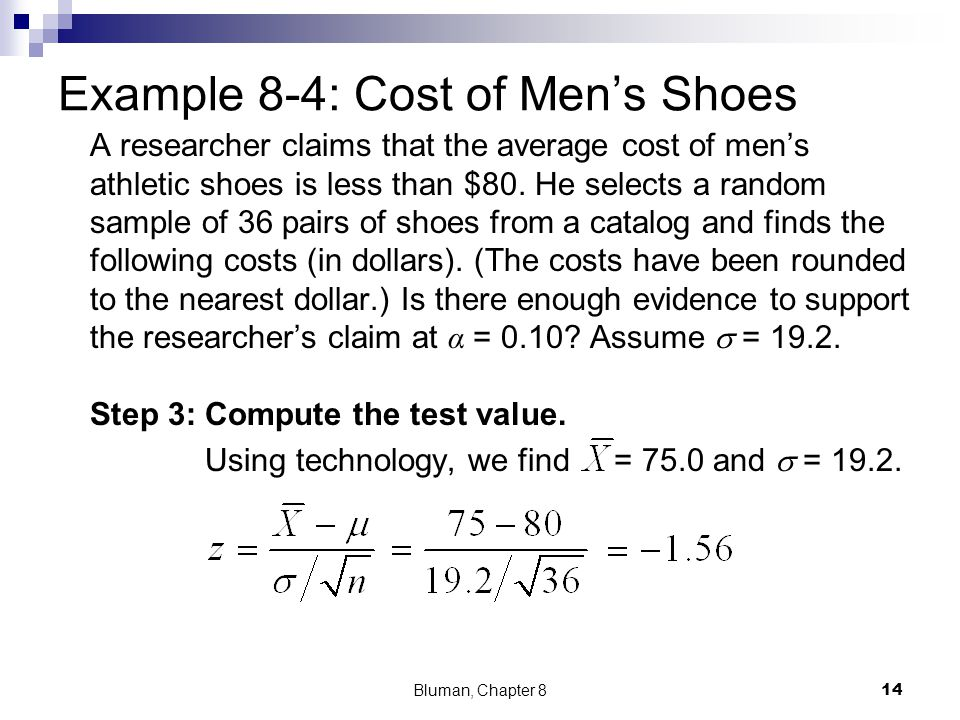 Example 8-4: Cost of Men's Shoes