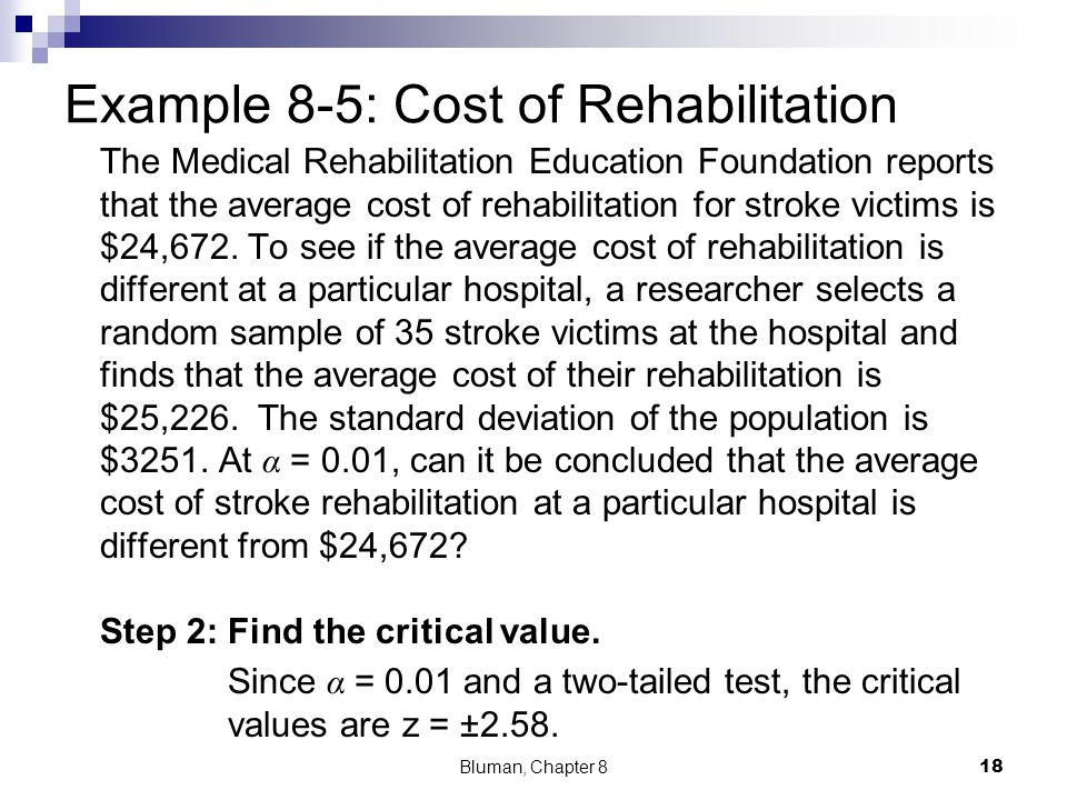 Example 8-5: Cost of Rehabilitation