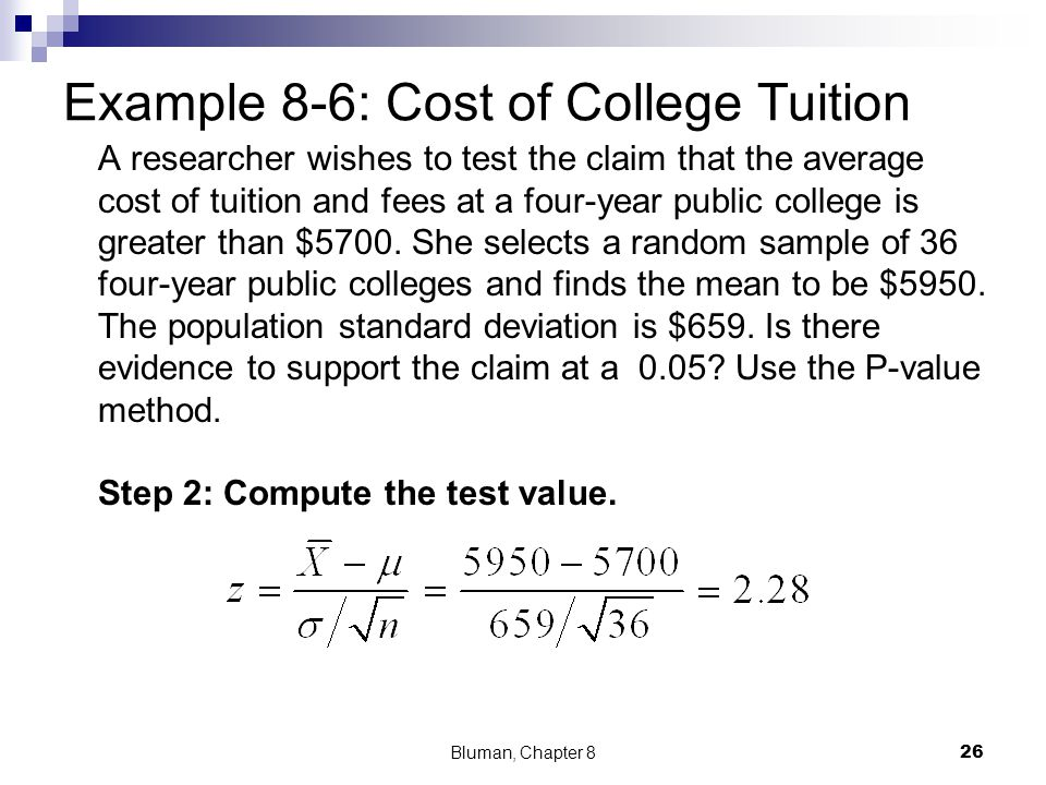 Example 8-6: Cost of College Tuition