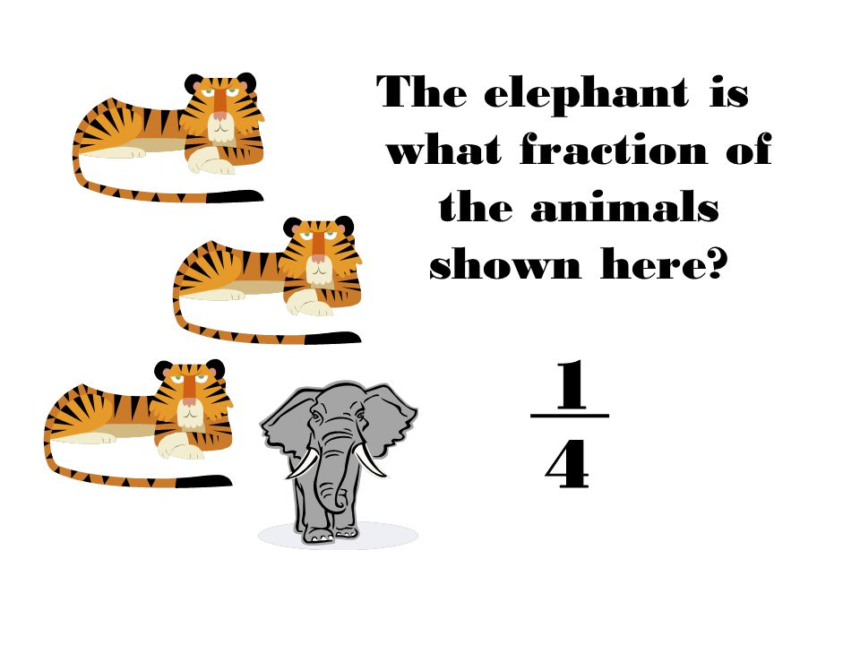 The elephant is what fraction of the animals shown here