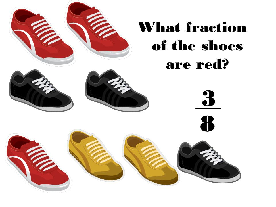 What fraction of the shoes are red