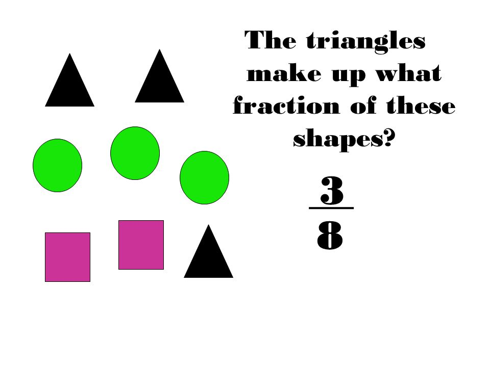The triangles make up what fraction of these shapes