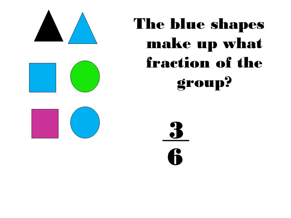 The blue shapes make up what fraction of the group