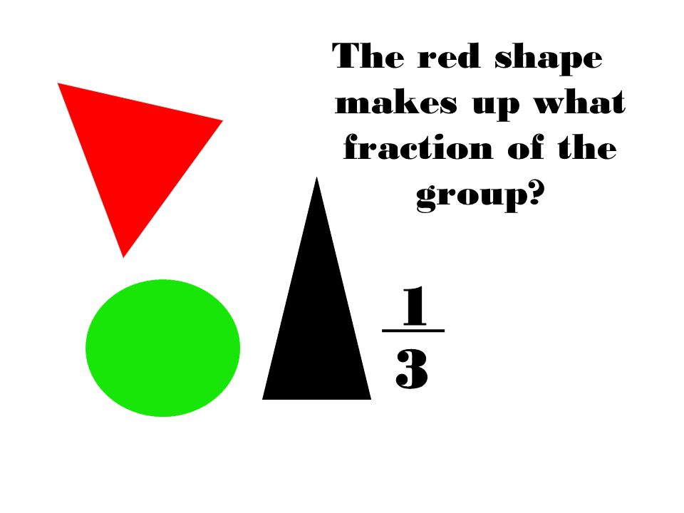 The red shape makes up what fraction of the group