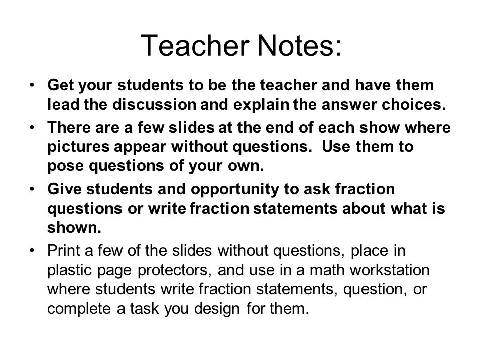 Teacher Notes: Get your students to be the teacher and have them lead the discussion and explain the answer choices.