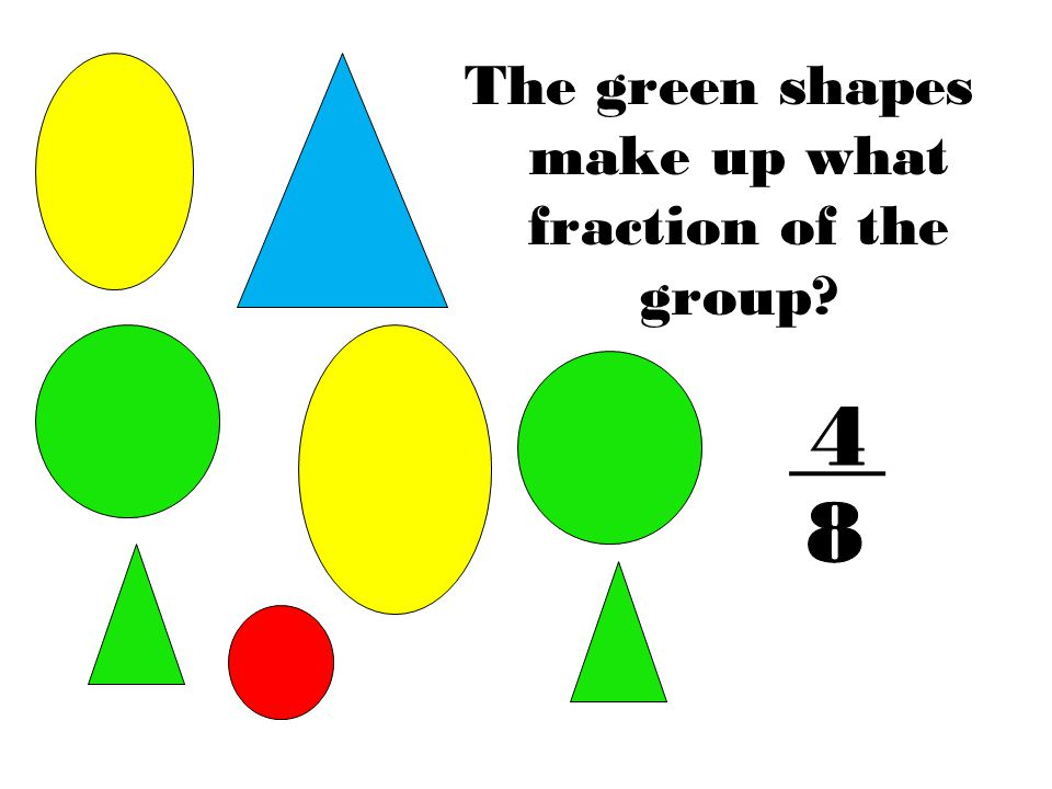 The green shapes make up what fraction of the group