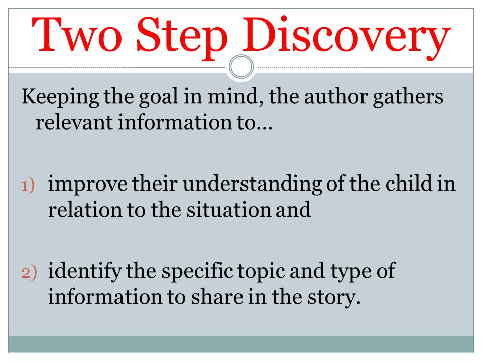 Two Step Discovery Keeping the goal in mind, the author gathers relevant information to…