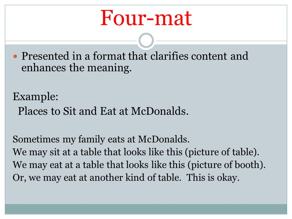 Four-mat Presented in a format that clarifies content and enhances the meaning. Example: Places to Sit and Eat at McDonalds.