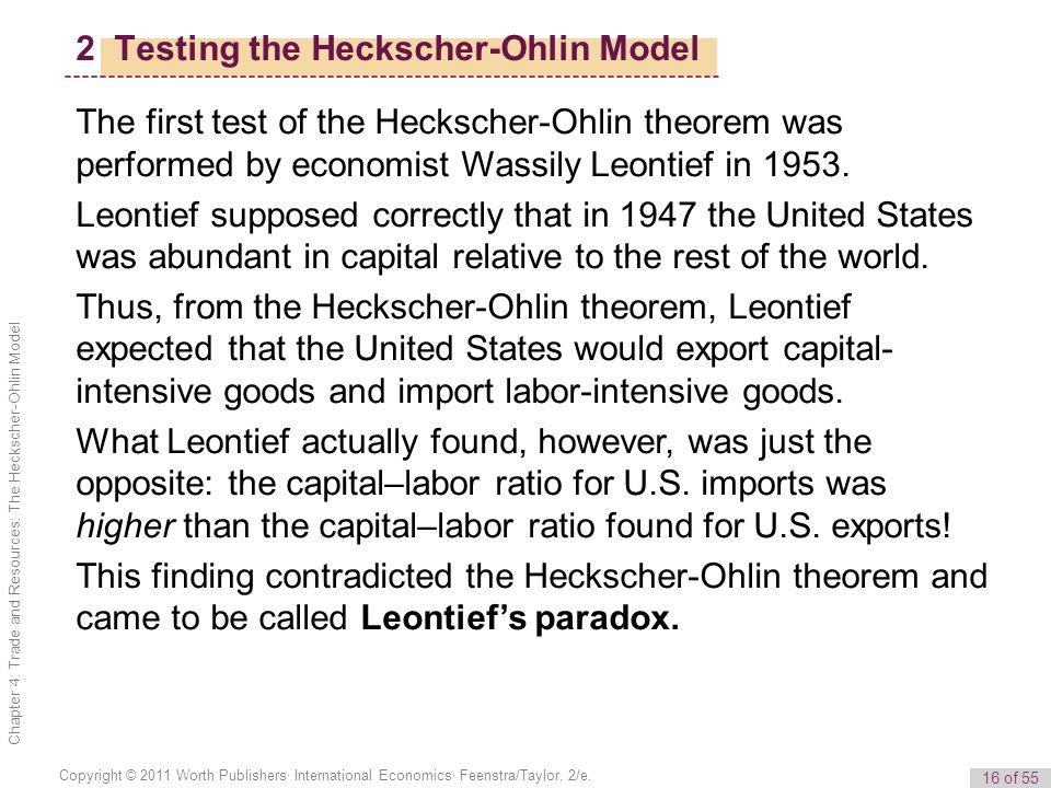 2 Testing the Heckscher-Ohlin Model