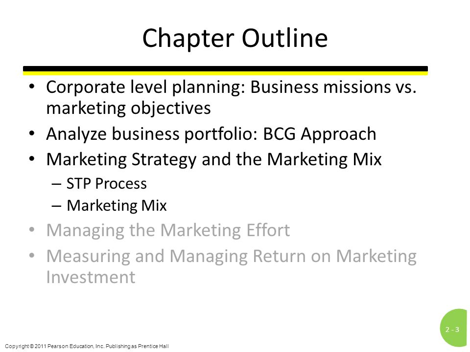 Chapter Outline Corporate level planning: Business missions vs. marketing objectives. Analyze business portfolio: BCG Approach.