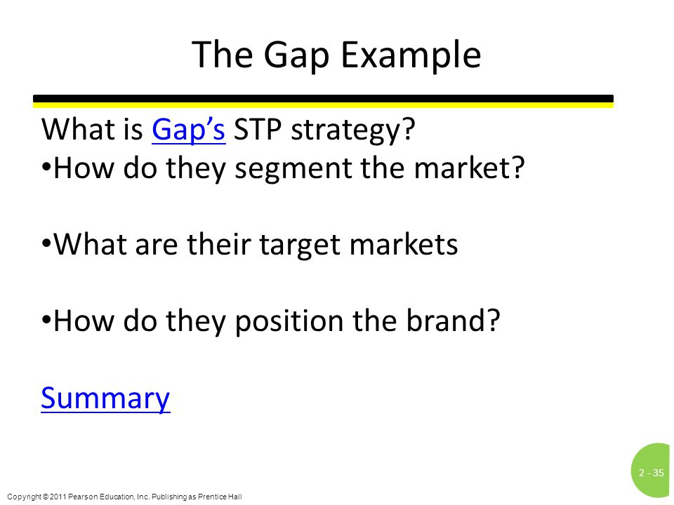 The Gap Example What is Gap's STP strategy