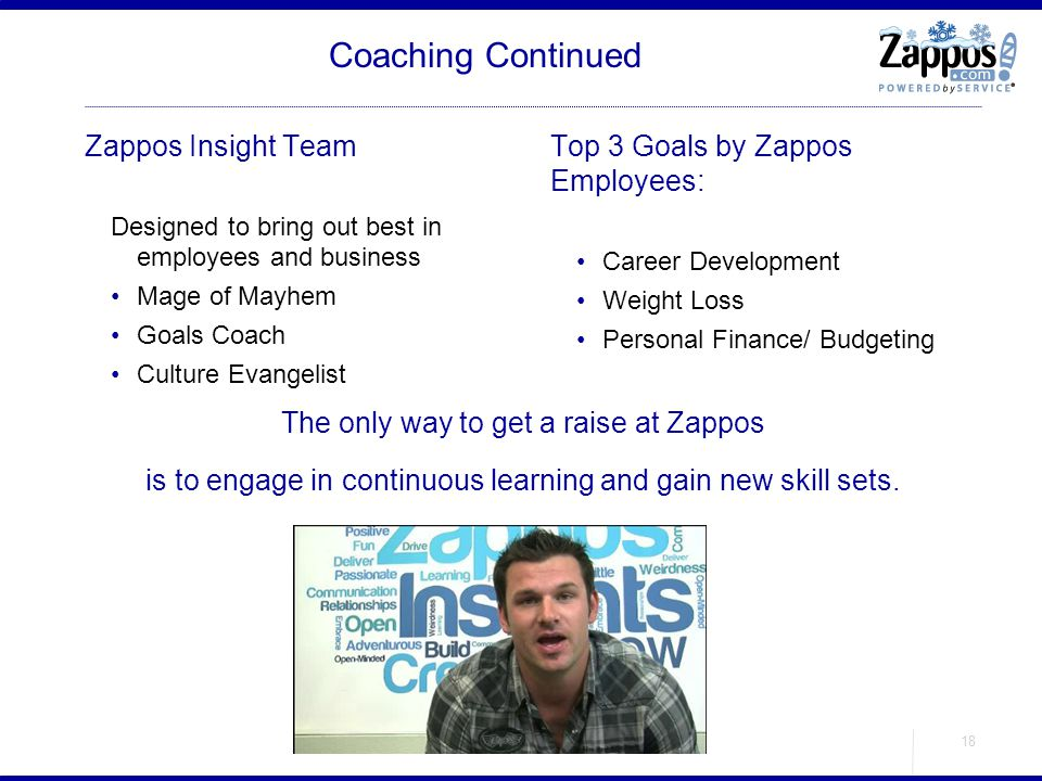 Coaching Continued Zappos Insight Team