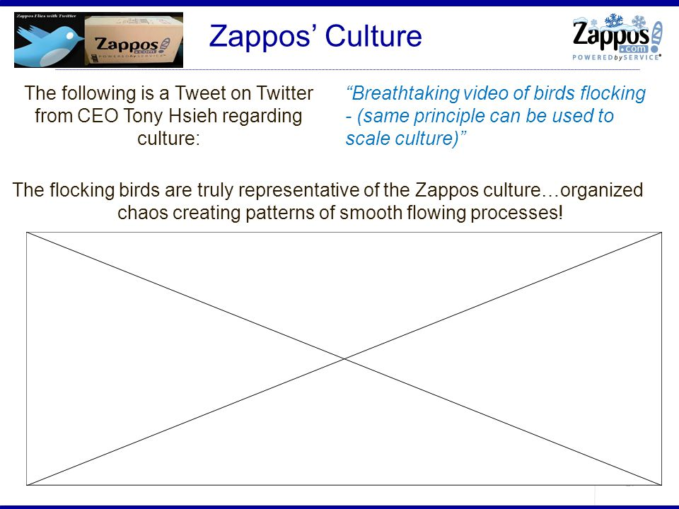 Zappos' Culture The following is a Tweet on Twitter from CEO Tony Hsieh regarding culture: