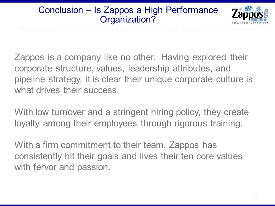 Conclusion – Is Zappos a High Performance Organization