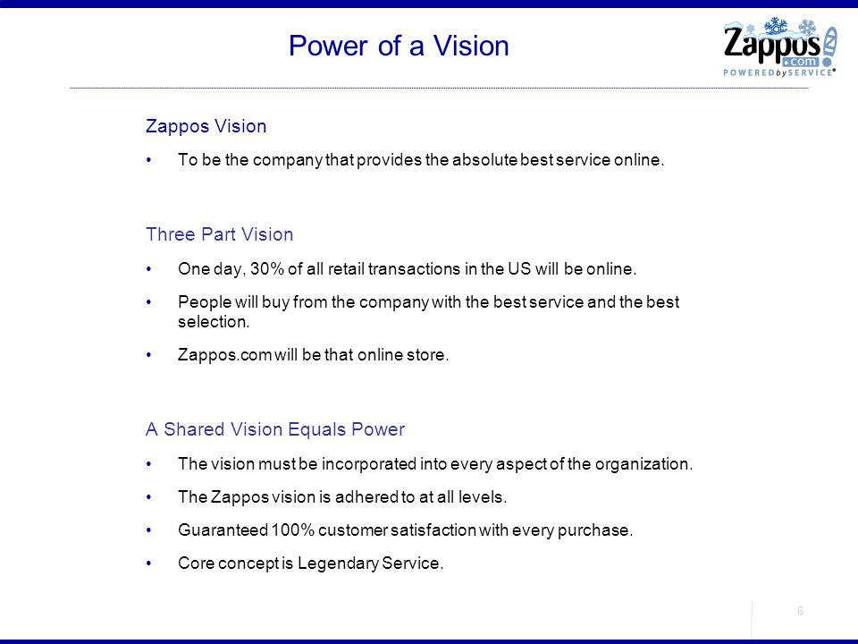 Power of a Vision Zappos Vision Three Part Vision