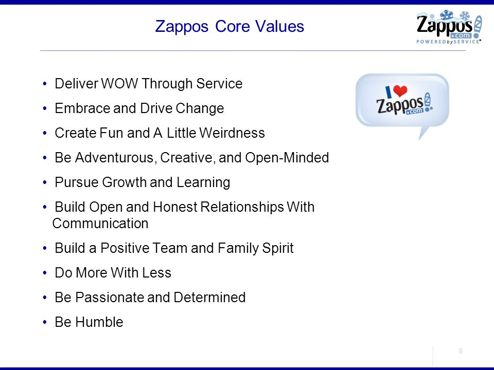 Zappos Core Values Deliver WOW Through Service