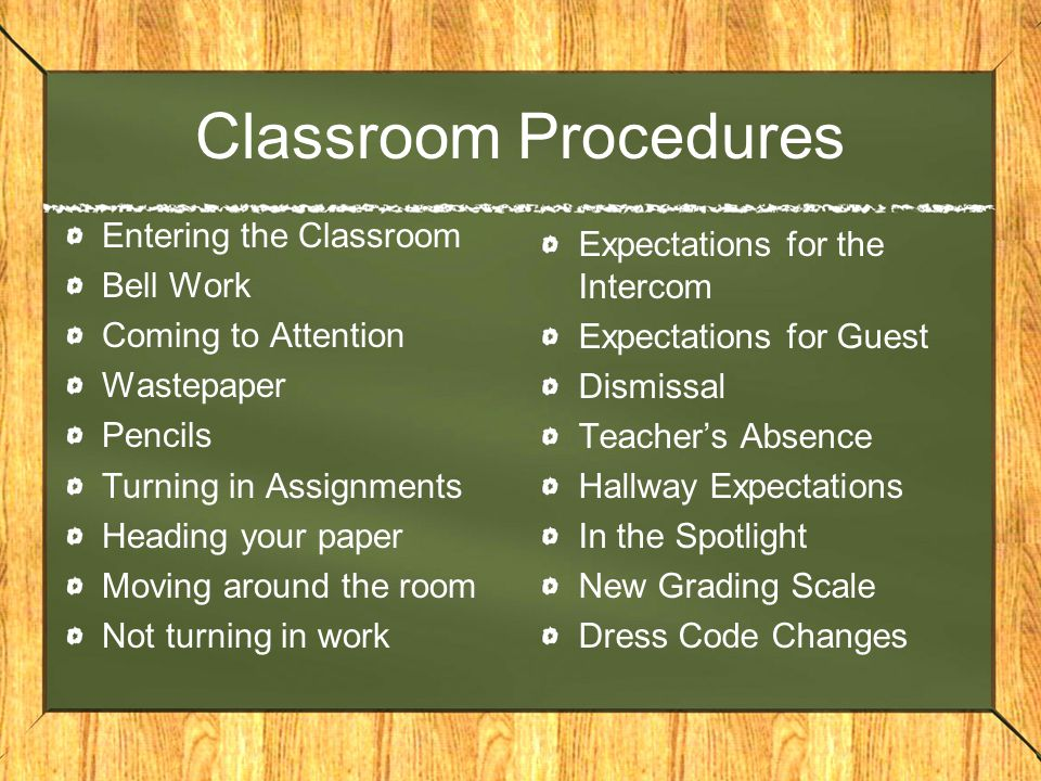 Classroom Procedures Entering the Classroom