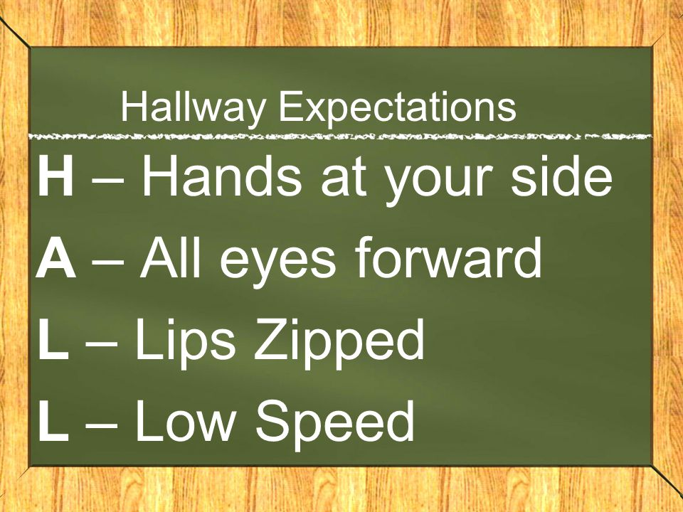 Hallway Expectations H – Hands at your side A – All eyes forward L – Lips Zipped L – Low Speed