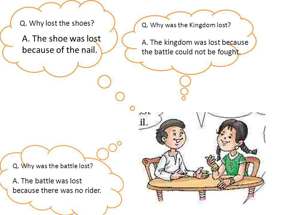 A. The shoe was lost because of the nail. Q. Why lost the shoes