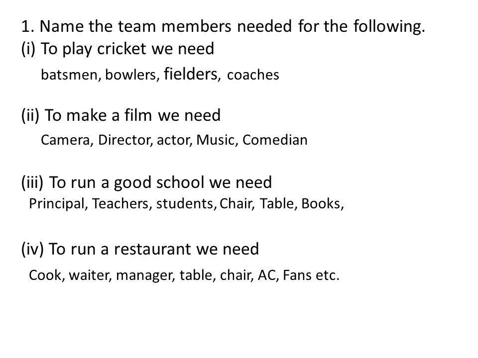 1. Name the team members needed for the following.