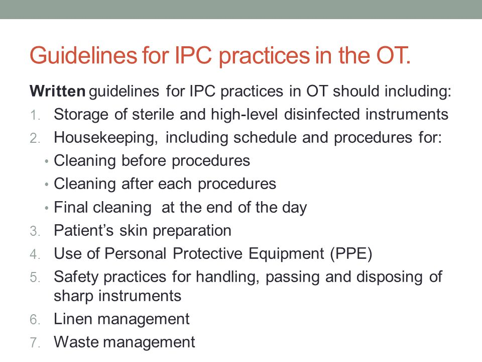 Guidelines for IPC practices in the OT.