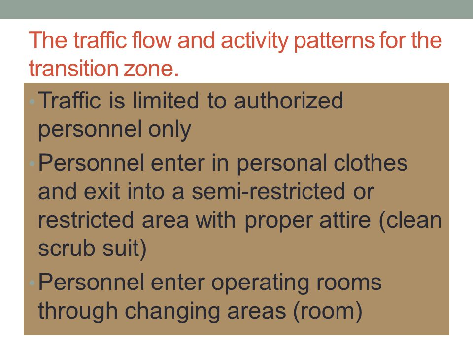The traffic flow and activity patterns for the transition zone.