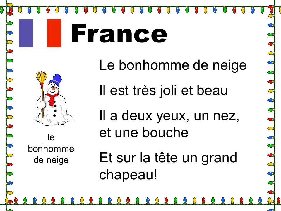 France Le bonhomme de neige Il est très joli et beau