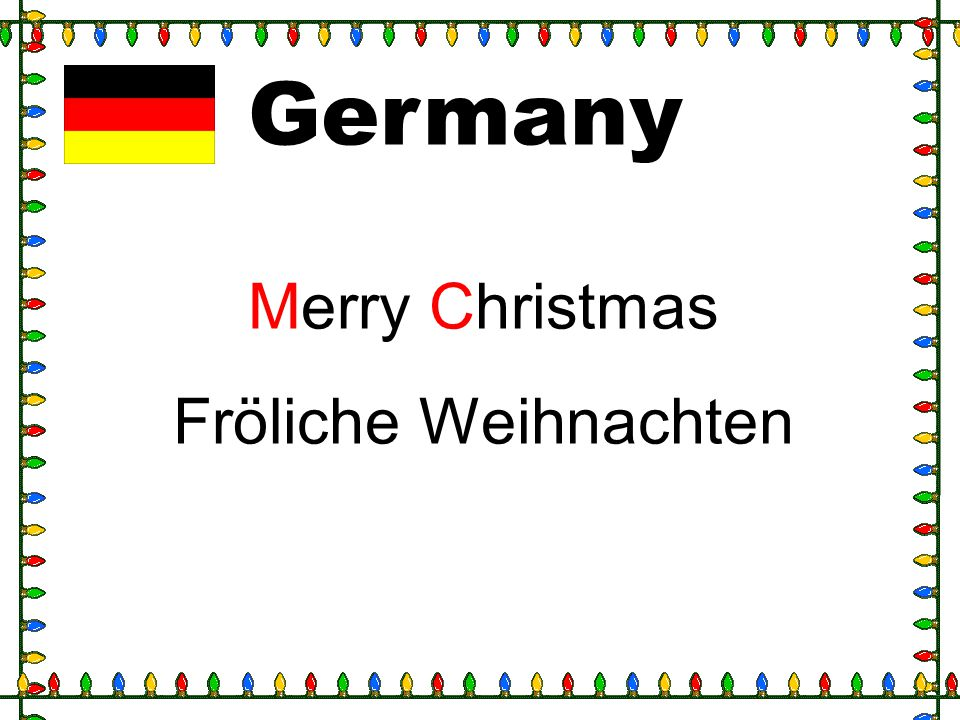 Germany Merry Christmas Fröliche Weihnachten