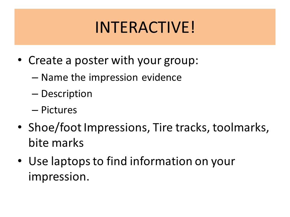 INTERACTIVE! Create a poster with your group: