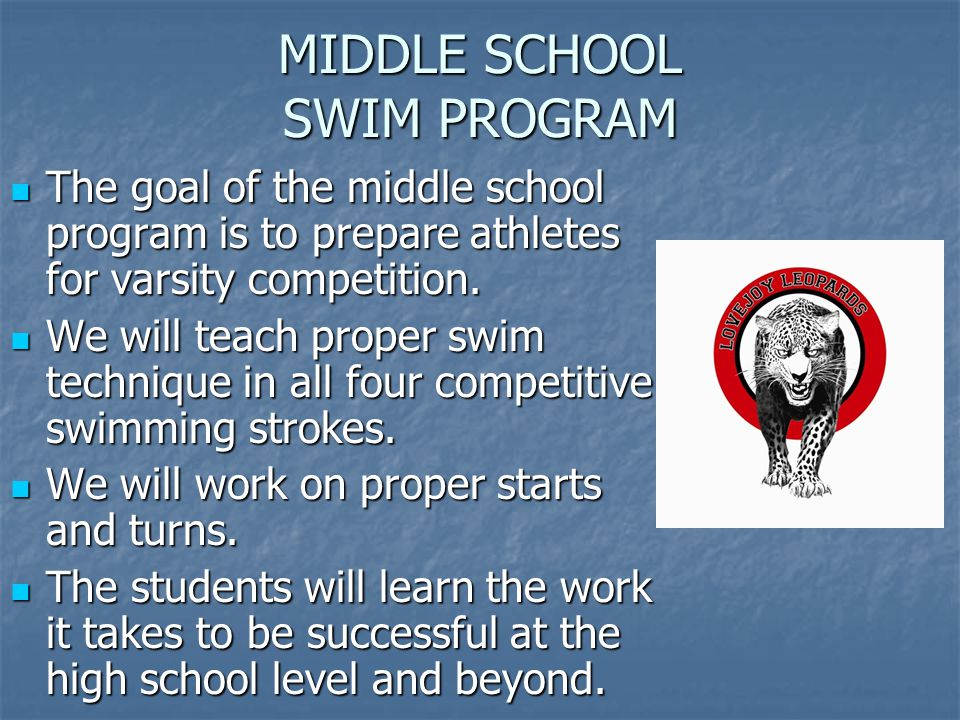 MIDDLE SCHOOL SWIM PROGRAM