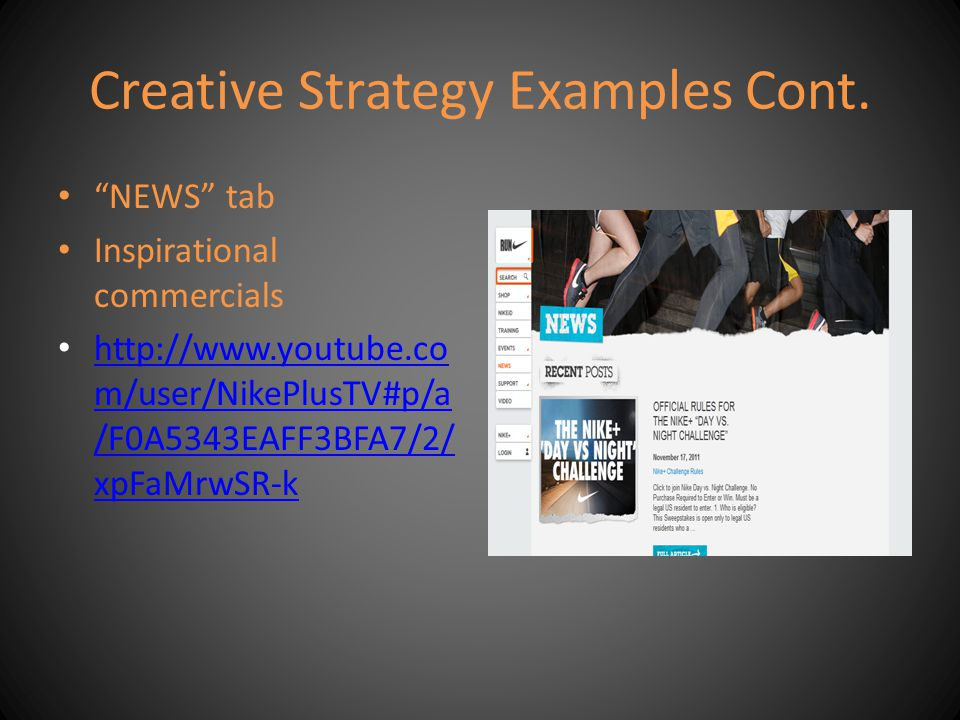 Creative Strategy Examples Cont.