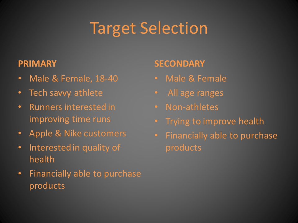 Target Selection PRIMARY SECONDARY Male & Female, 18-40