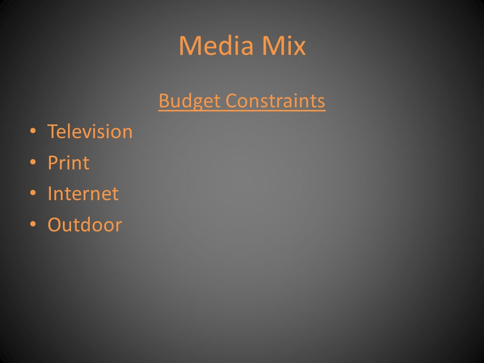 Media Mix Budget Constraints Television Print Internet Outdoor