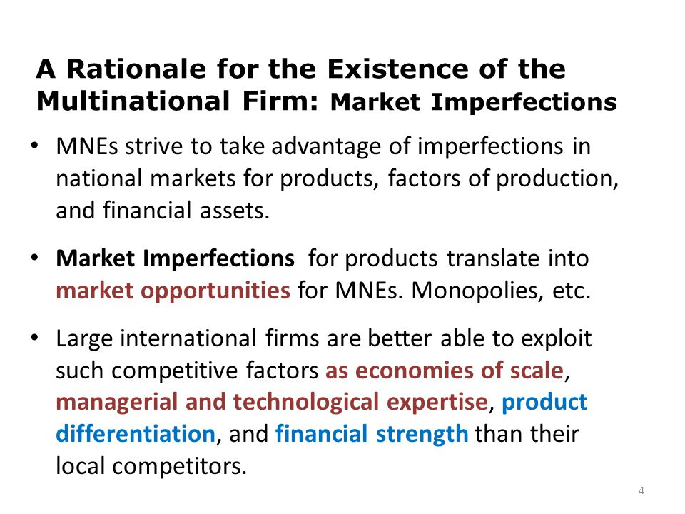 A Rationale for the Existence of the Multinational Firm: Market Imperfections