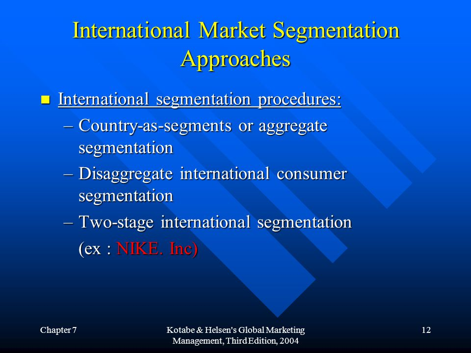 International Market Segmentation Approaches