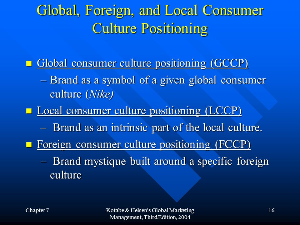 Global, Foreign, and Local Consumer Culture Positioning
