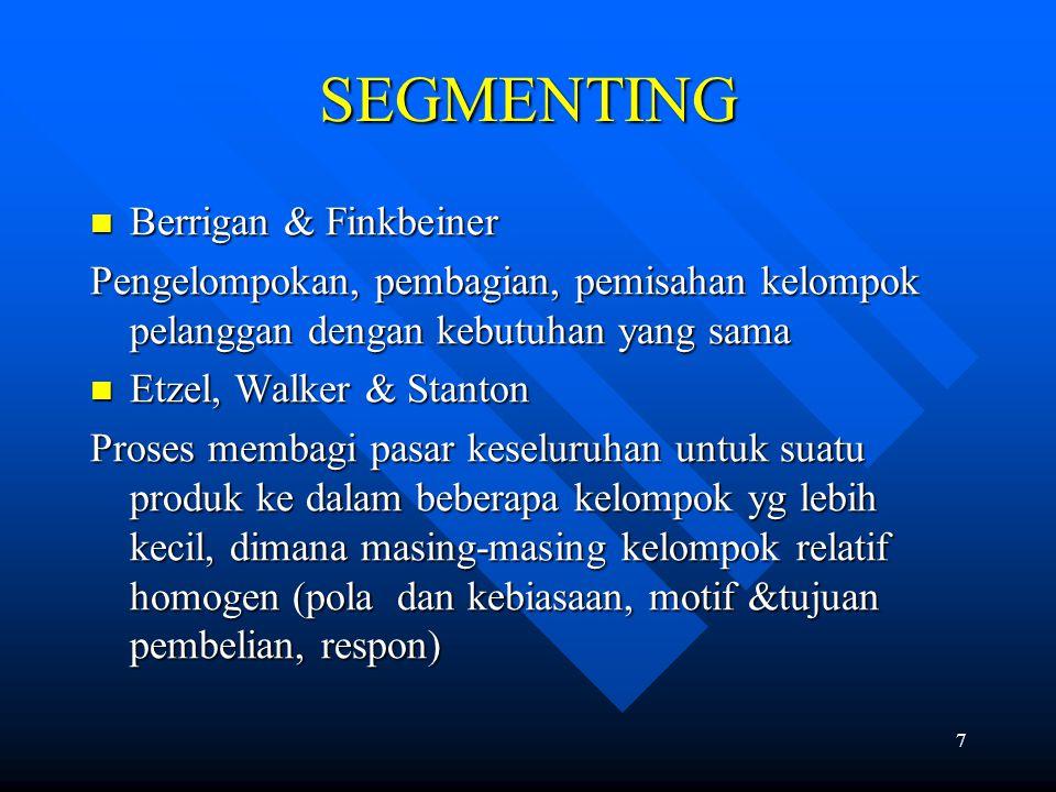 SEGMENTING Berrigan & Finkbeiner