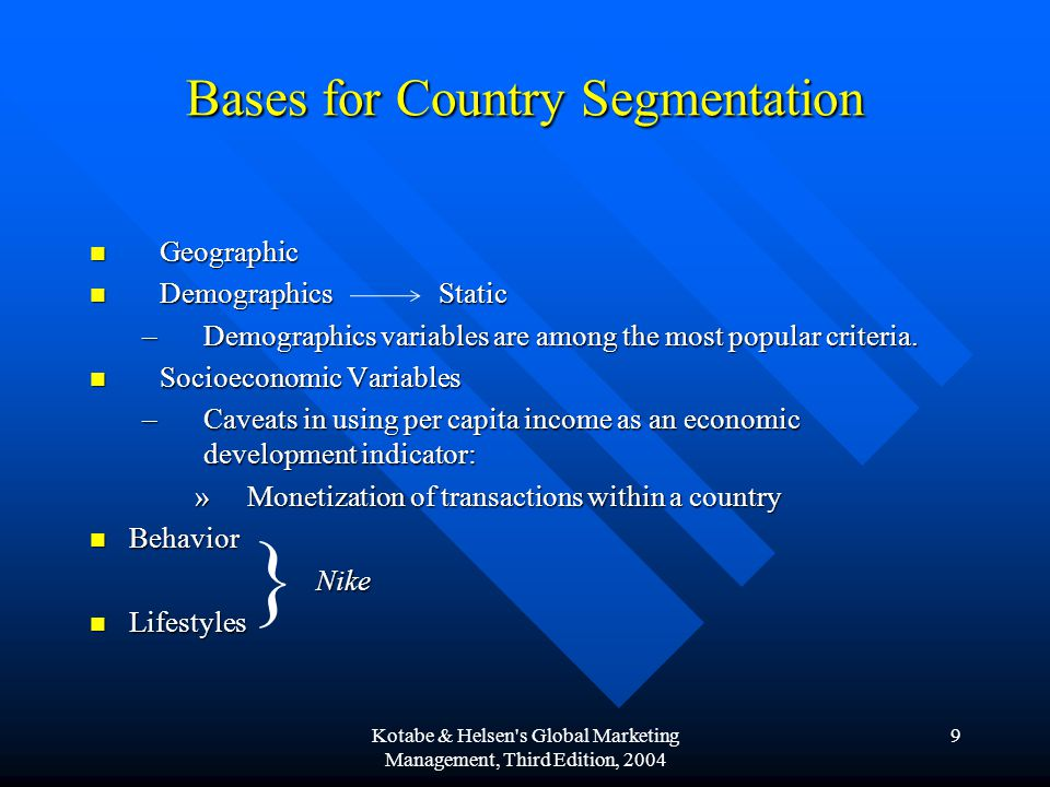 Bases for Country Segmentation