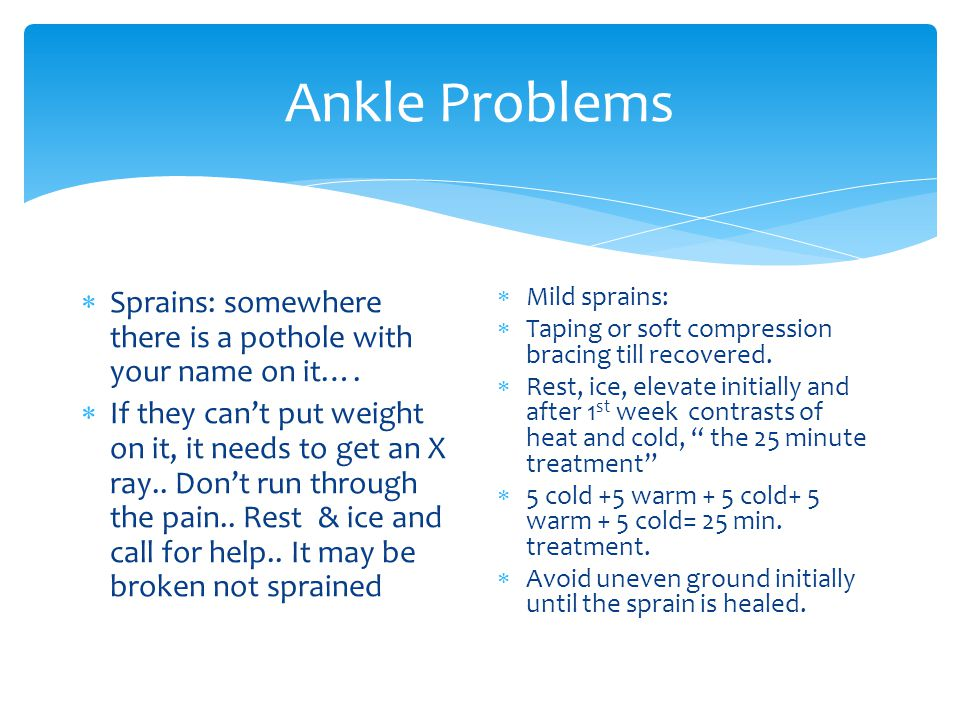 Ankle Problems Sprains: somewhere there is a pothole with your name on it….