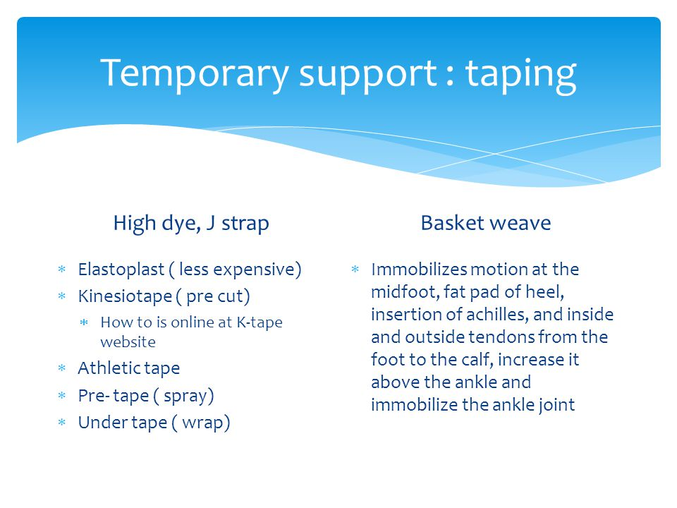 Temporary support : taping