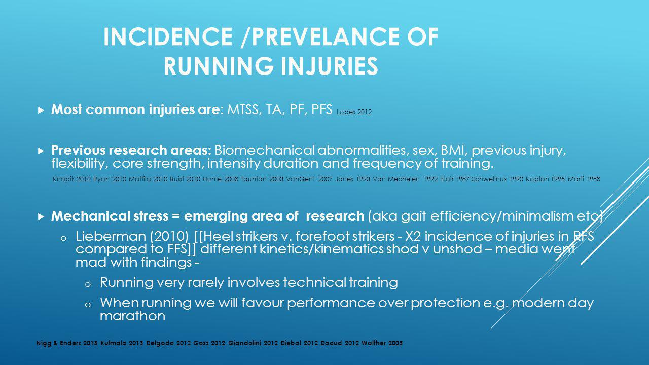 INCIDENCE /PREVELANCE OF RUNNING INJURIES
