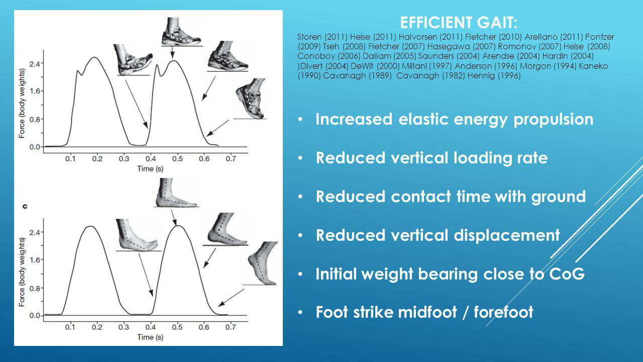 Increased elastic energy propulsion Reduced vertical loading rate