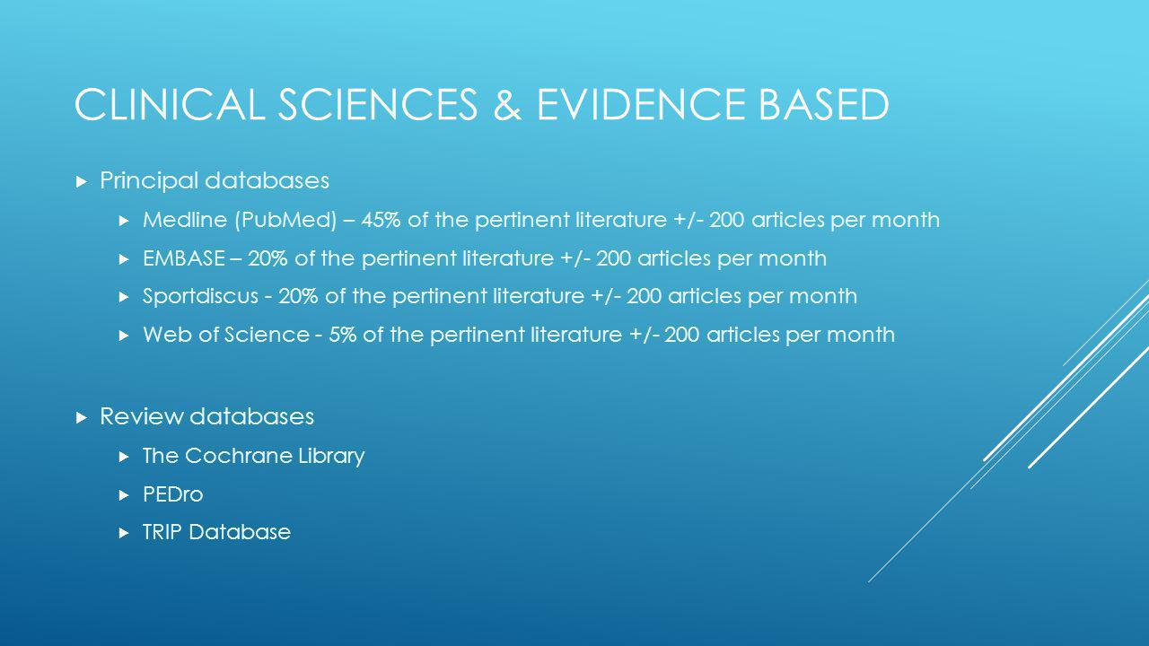 Clinical sciences & evidence based