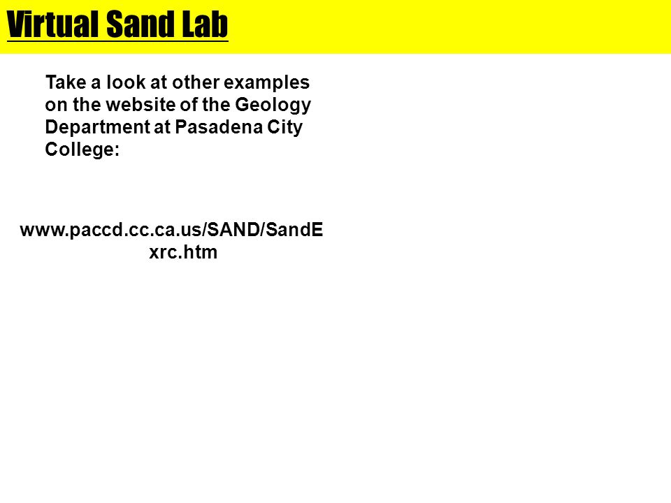 Virtual Sand Lab